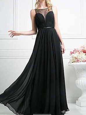 cheap Evening Dresses-A-Line Empire Black Wedding Guest Prom Dress Illusion Neck Sleeveless Floor Length Chiffon with Sash / Ribbon Pleats 2020