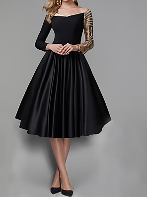 cheap Evening Dresses-A-Line Elegant Black Engagement Prom Dress Off Shoulder 3/4 Length Sleeve Knee Length Satin Sequined with Pleats Sequin 2020
