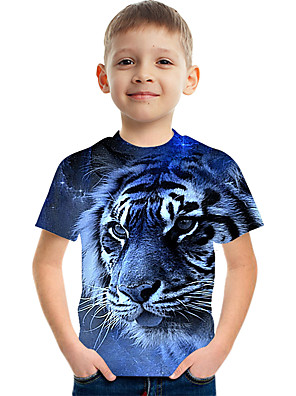 cheap Boys' Tops-Kids Boys' Active Street chic Color Block 3D Print Short Sleeve Tee Blue