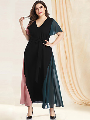 cheap Plus Size Dresses-Women's Plus Size Maxi A Line Dress - Long Sleeve Color Block Solid Color Patchwork Spring & Summer V Neck Casual Elegant Daily Going out Flare Cuff Sleeve Loose Green XL XXL XXXL XXXXL XXXXXL