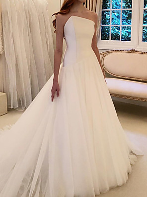 cheap Prom Dresses-A-Line Wedding Dresses Strapless Sweep / Brush Train Polyester Strapless Country Plus Size with Draping 2020
