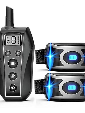 cheap Bikinis-IPX7 Waterproof Rechargeable Remote Pet Dog Training Collar LED 3 Modes Beep Vibration Shock Pet Behavior Training For 2 Dogs