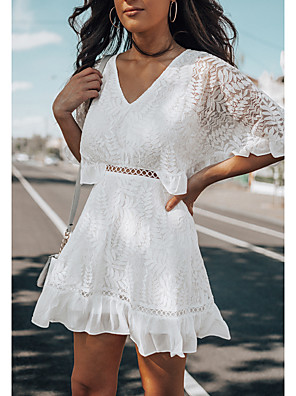 cheap Romantic Lace Dresses-Women's A Line Dress - Half Sleeve Solid Color V Neck White S M L XL