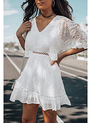 cheap Cocktail Dresses-Women's A Line Dress - Half Sleeve Solid Color V Neck White S M L XL
