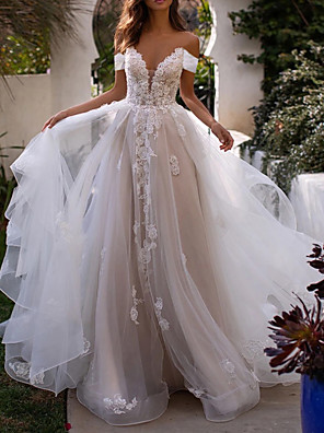 cheap Wedding Dresses-A-Line Wedding Dresses Off Shoulder Sweep / Brush Train Lace Tulle Sleeveless Country Plus Size with Lace Appliques 2020