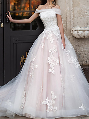 cheap Wedding Dresses-Ball Gown Wedding Dresses Off Shoulder Court Train Tulle Polyester Cap Sleeve Country Plus Size with Appliques 2020