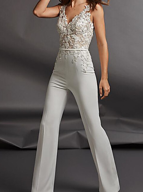 cheap Wedding Dresses-Jumpsuits Wedding Dresses V Neck Floor Length Chiffon Sleeveless Country Plus Size with Sashes / Ribbons Appliques 2020