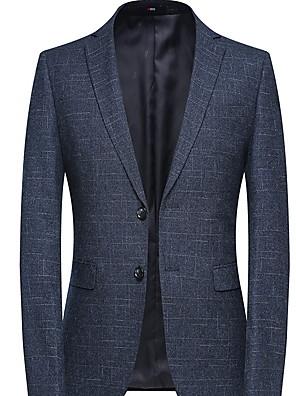 cheap Men's Hats-Men's Blazer Notch Lapel Polyester Blue