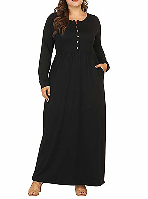 cheap Plus Size Dresses-Women's Plus Size Maxi A Line Dress - Long Sleeve Solid Color Patchwork Fall & Winter Basic Daily Loose Wine Black Army Green Navy Blue XL XXL XXXL XXXXL XXXXXL