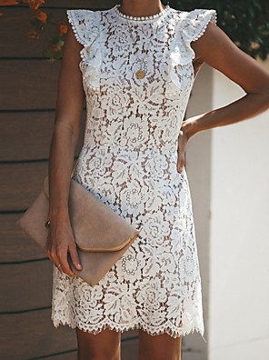 cheap Women's Dresses-Women's Sheath Dress - Short Sleeves Solid Color Crew Neck White S M L XL