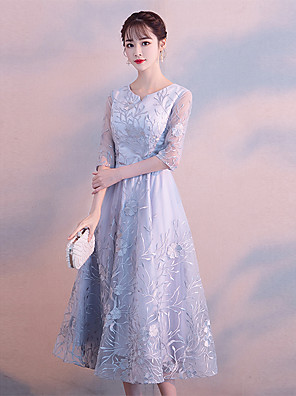cheap Cocktail Dresses-A-Line Elegant Grey Cocktail Party Prom Dress Jewel Neck 3/4 Length Sleeve Tea Length Lace Satin with Lace Insert Pattern / Print Appliques 2020