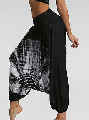 cheap Women's Pants-Women's Basic Loose Bloomers Pants - Print White Black Light Blue One-Size