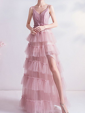 cheap Prom Dresses-A-Line Beautiful Back Engagement Prom Dress Spaghetti Strap Sleeveless Floor Length Polyester with Split Tier 2020