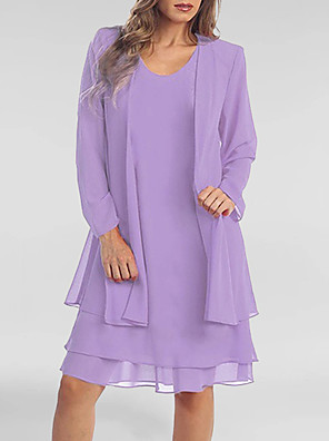 cheap Mini Dresses-Women's Plus Size Two Piece Dress - Long Sleeve Solid Colored Summer Spring & Summer Casual Belt Not Included 2020 Purple S M L XL XXL XXXL XXXXL XXXXXL