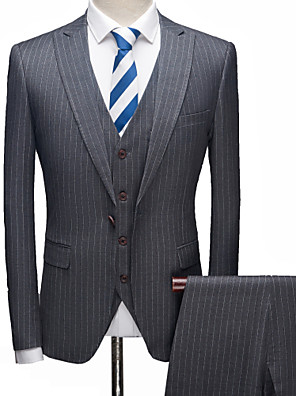 cheap Prom Dresses-Tuxedos Tailored Fit Notch Single Breasted One-button Polyester Stripes / British / Fashion