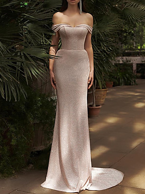 cheap Evening Dresses-Sheath / Column Glittering Minimalist Engagement Formal Evening Dress Off Shoulder Short Sleeve Court Train Polyester with Sleek 2020