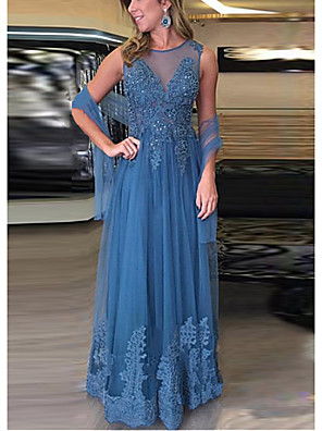 cheap Evening Dresses-A-Line Mother of the Bride Dress Sexy Illusion Neck Floor Length Lace Sleeveless with Beading Appliques 2020