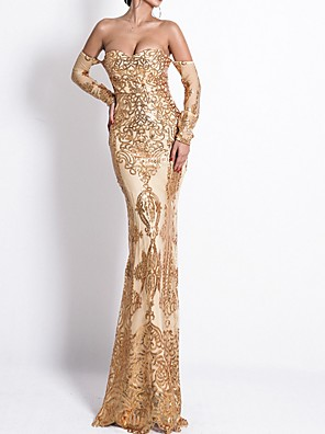 cheap Prom Dresses-Mermaid / Trumpet Glittering Beautiful Back Engagement Formal Evening Dress Off Shoulder Long Sleeve Floor Length Polyester with Sequin 2020