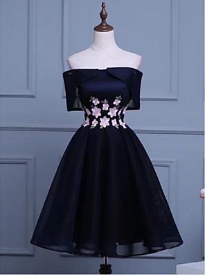 cheap Prom Dresses-A-Line Floral Engagement Cocktail Party Dress Off Shoulder Short Sleeve Short / Mini Polyester with Appliques 2020