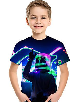 cheap Boys' Clothing-Kids Toddler Boys' Active Basic Cube Geometric 3D Rainbow Print Short Sleeve Tee Rainbow