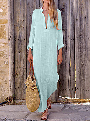 cheap Women's Dresses-Women's Maxi A Line Dress - Long Sleeve Solid Color Summer V Neck Casual Boho 2020 Red Yellow Blushing Pink Light Blue S M L XL