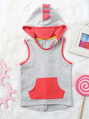 cheap Girls' Dresses-Baby Girls' Active Basic Color Block Sleeveless Hoodie & Sweatshirt Gray