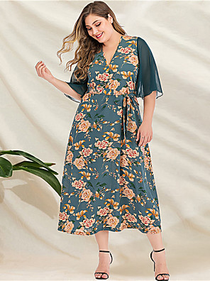 cheap Plus Size Dresses-Women's Plus Size Maxi A Line Dress - Long Sleeve Floral Patchwork Print V Neck Casual Mumu Daily Beach Loose Green L XL XXL XXXL XXXXL
