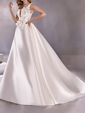cheap Wedding Dresses-A-Line Wedding Dresses Plunging Neck Sweep / Brush Train Satin Sleeveless Vintage Plus Size with Bow(s) 2020