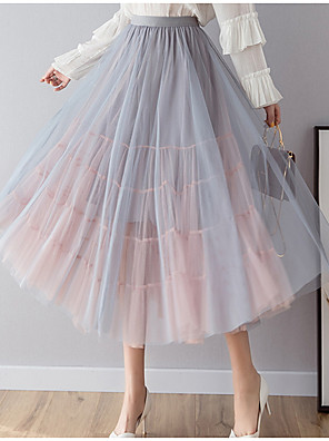 cheap Women's Skirts-Women's Swing Skirts - Color Block Blushing Pink Blue Black One-Size