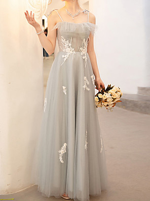 cheap Prom Dresses-A-Line Floral Grey Wedding Guest Prom Dress Spaghetti Strap Sleeveless Floor Length Polyester with Embroidery 2020