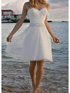 cheap Bridesmaid Dresses-A-Line Wedding Dresses Strapless Knee Length Chiffon Taffeta Stretch Satin Sleeveless Vintage Plus Size with Crystals 2020