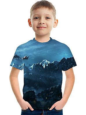 cheap Boys' Tops-Kids Boys' Basic Street chic Color Block 3D Rainbow Print Short Sleeve Tee Light Blue