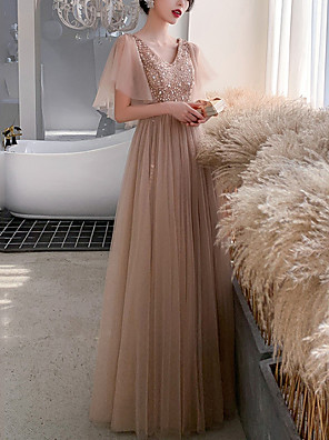 cheap Prom Dresses-A-Line Elegant Sparkle Wedding Guest Prom Dress V Neck Half Sleeve Floor Length Polyester with Pleats Beading 2020