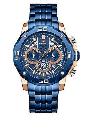 cheap Sport Watches-NAVIFORCE Men's Steel Band Watches Quartz Modern Style Sporty Outdoor Water Resistant / Waterproof Stainless Steel Black / Blue / Silver Analog - Black Blue Gold Two Years Battery Life / Japanese