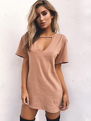 cheap Mini Dresses-Women's A Line Dress - Short Sleeves Solid Color V Neck Wine White Black Purple Yellow Army Green Khaki Light Green Navy Blue Gray S M L XL XXL XXXL