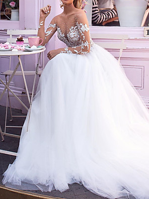 cheap Evening Dresses-A-Line Wedding Dresses Jewel Neck Court Train Lace Tulle Long Sleeve Sexy Plus Size with Beading Embroidery Appliques 2020