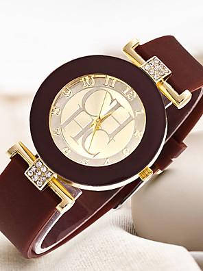 cheap Quartz Watches-Women's Quartz Watches Quartz Stylish Casual Creative Rubber Black / White / Blue Analog - White Black Blue One Year Battery Life / Large Dial