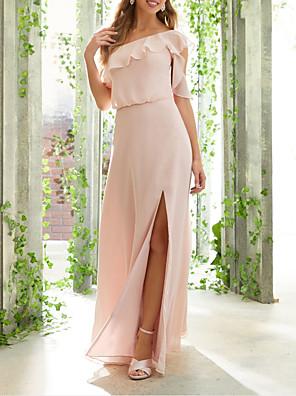 cheap Bridesmaid Dresses-A-Line One Shoulder Floor Length Chiffon Bridesmaid Dress with Ruffles / Split Front