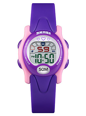 cheap Kids' Watches-SKMEI Kids Digital Watch Digital Sporty Fashion Water Resistant / Waterproof PU Leather Digital - Black Blue Purple One Year Battery Life / Calendar / date / day / Chronograph / Noctilucent