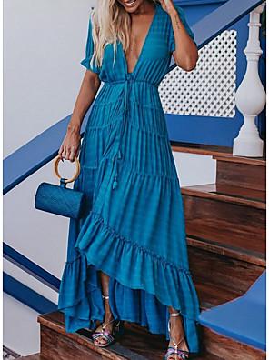 cheap Maxi Dresses-Women's Sheath Dress Maxi long Dress - Short Sleeves Solid Color Summer Elegant 2020 White Blue S M L XL