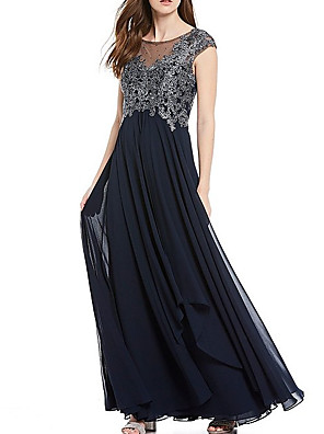 cheap Evening Dresses-A-Line Mother of the Bride Dress Elegant Illusion Neck Floor Length Chiffon Lace Sleeveless with Lace Pleats Appliques 2020