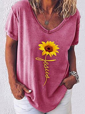 cheap Women's Blouses & Shirts-Women's T-shirt Floral Short Sleeve Loose Tops Cotton V Neck White Black Blue