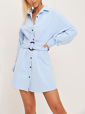 cheap Party Dresses-Women's A Line Dress - Long Sleeve Solid Color Summer Fall V Neck Elegant Street chic Party Daily Lantern Sleeve 2020 Light Blue S M L