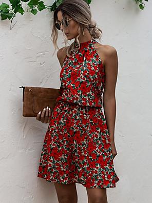 cheap Women's Blouses & Shirts-Women's A Line Dress - Sleeveless Floral Summer Street chic 2020 Red Yellow Navy Blue S M L XL
