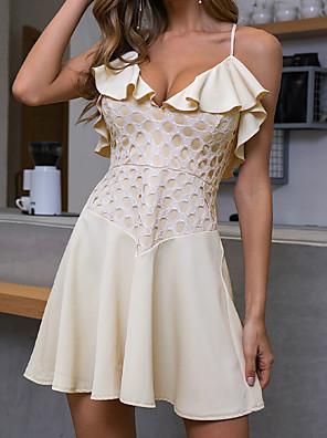 cheap Mini Dresses-Women's A-Line Dress Short Mini Dress - Sleeveless Print Ruffle Zipper Summer Elegant Mumu Daily Weekend 2020 Beige S M L