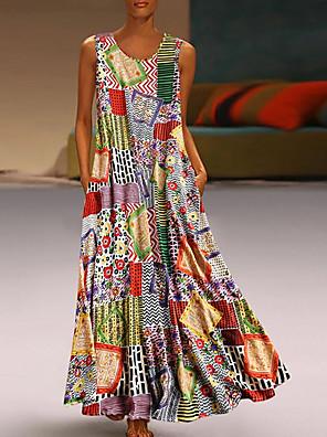 cheap Maxi Dresses-Women's A Line Dress - Sleeveless Print Summer Casual Mumu 2020 Khaki M L XL XXL XXXL XXXXL XXXXXL