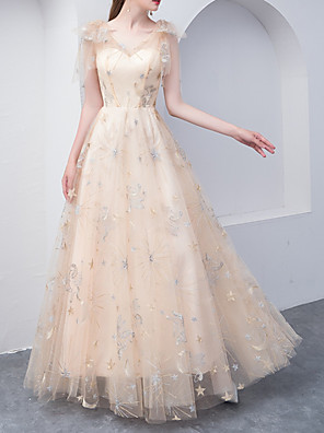 cheap Prom Dresses-A-Line Glittering Empire Wedding Guest Formal Evening Dress V Neck Sleeveless Floor Length Tulle with Embroidery 2020