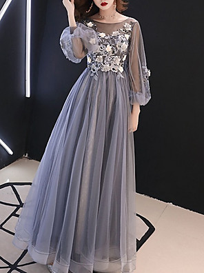 cheap Prom Dresses-A-Line Floral Luxurious Wedding Guest Formal Evening Dress Illusion Neck Long Sleeve Floor Length Tulle with Appliques 2020