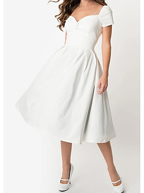 cheap Wedding Dresses-A-Line Wedding Dresses Sweetheart Neckline Knee Length Cotton Short Sleeve Simple Little White Dress with Buttons Side-Draped 2020
