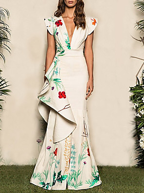 cheap Mother of the Bride Dresses-Mermaid / Trumpet Elegant Boho Wedding Guest Prom Dress V Neck Sleeveless Floor Length Jersey with Pattern / Print 2020